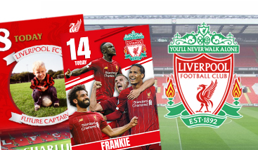 Personalised Liverpool F.C. football greeting cards