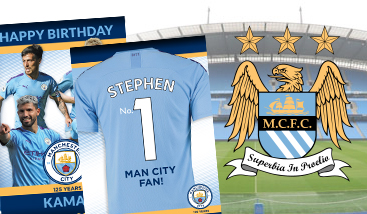 Personalised Manchester City football greeting cards