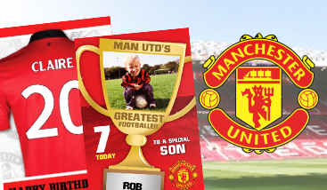 Personalised Man United F.C. football greeting cards
