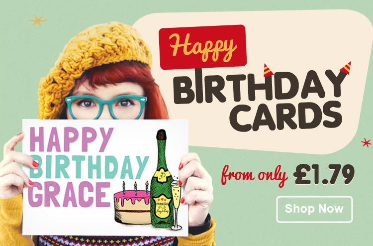 Personalised Birthday Cards - From £1.79