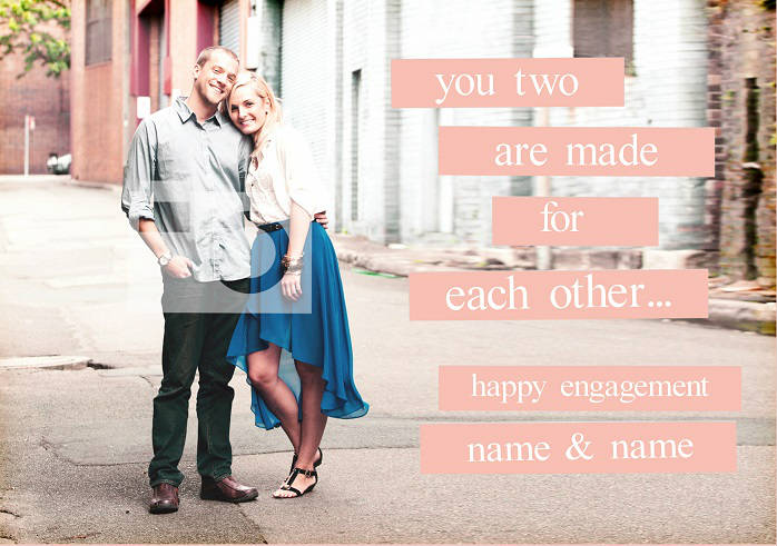 made for each other engagement card cover