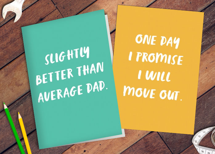Father's Day cards on a table