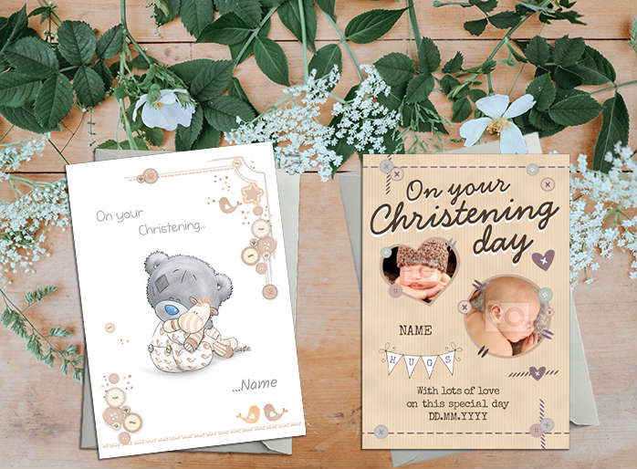Christening Cards on a table