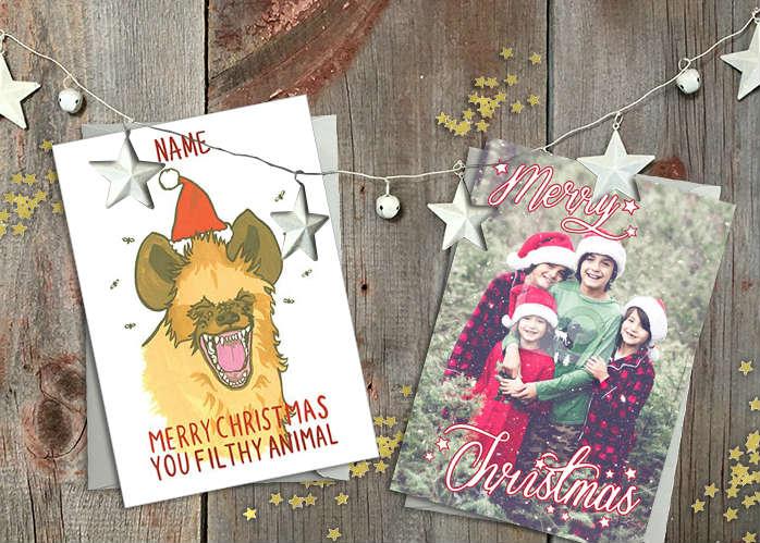 Christmas cards on a festive table