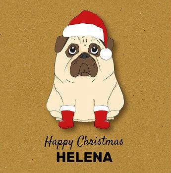 Pug boots happy Christmas card