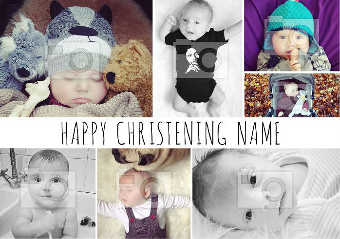 Photo Collage Christening Card