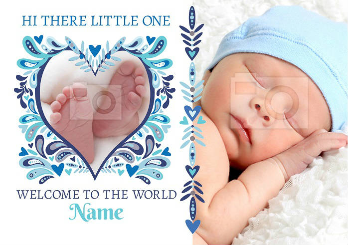 Welcome to the world blue new baby card