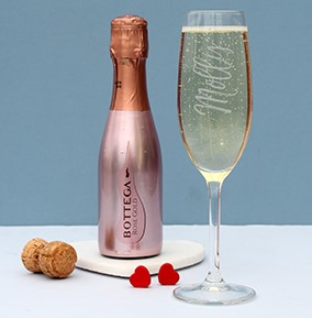 Prosecco and Glass flute gift set