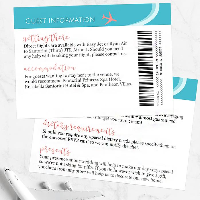 Wedding Guest Information Card