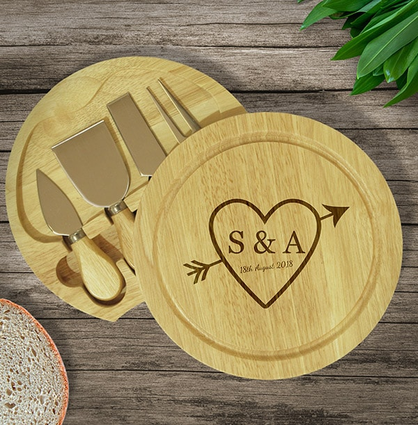 Sketch Heart Round Personalised Cheese Board