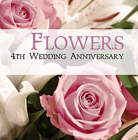 4th Wedding Anniversary Card Flowers