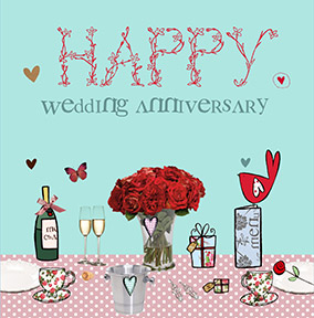 Romantic Meal Wedding Anniversary Card