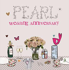 Cupcake Wellies Pearl Wedding Anniversary Card