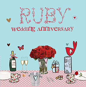 Cupcake Wellies Ruby Wedding Anniversary Card