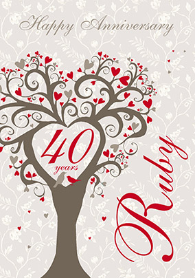 Ruby Wedding Anniversary Card Lovetree Yes Preview Image Is Not Found