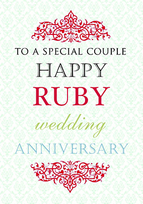 Ruby Wedding Anniversary Card - Truly Madly Deeply