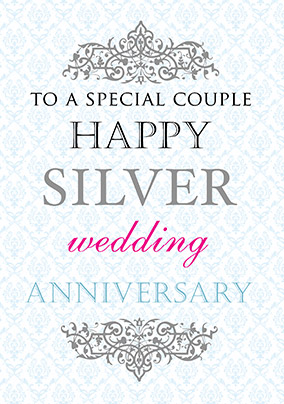 Silver Wedding Anniversary Card - Truly Madly Deeply