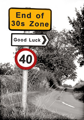 Road Sign 40th Birthday Card