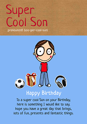 Super Cool Son Birthday Card