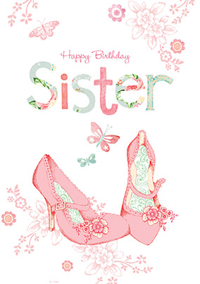 Shoe birthday cards funky pigeon happy birthday sister shoes card bookmarktalkfo Gallery