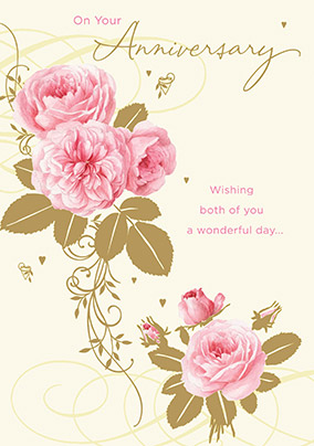 Pink Floral Traditional Anniversary Card
