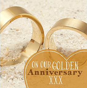 Wedding Anniversary Card - Gold 50