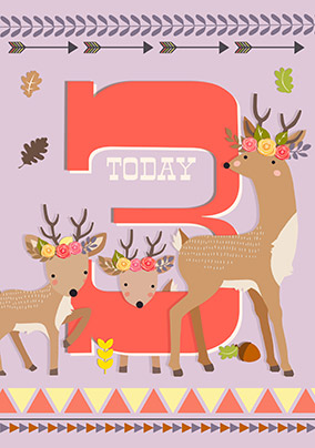 3 Today Girl Deer Birthday Card - Little And Brave