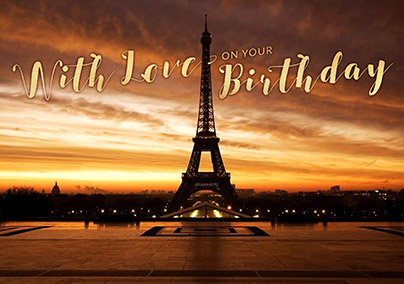Eiffel Tower at Sunset Birthday Card