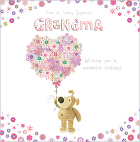 Grandma nan birthday cards funky pigeon dog and heart bouquet grandma birthday card bookmarktalkfo Image collections