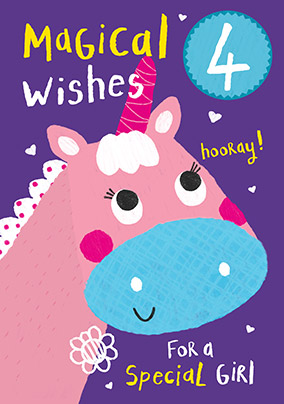 Unicorn Magical Wishes 4th Birthday Card