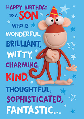 Funny Monkey Son Birthday Card