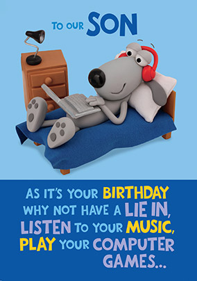 Dog laying in Bed Son Birthday Card