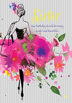Shiny, Bright & Beautiful Sister Birthday Card
