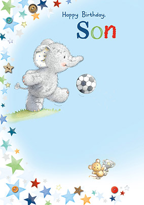 Elephant & Footy Son Birthday Card