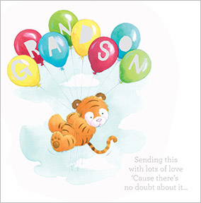 Tiger Cub and Balloons Grandson Birthday Card
