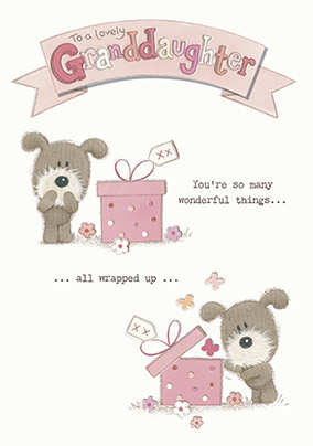 Cute Dog Wonderful Granddaughter Birthday Card