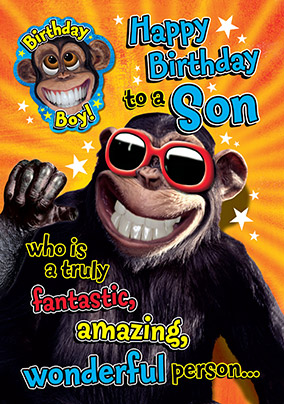 Crazy Chimp Son Birthday Card