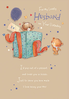 Lovely Husband Bear Surprise Birthday Card