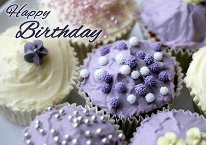 Violet Cupcakes Birthday Card
