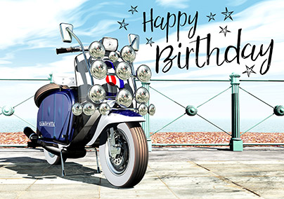 Motorbike by the Sea Birthday Card