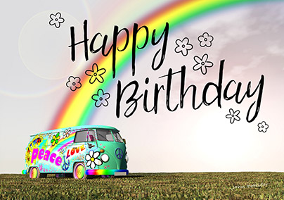 Hang Loose Hippie Camper Birthday Card