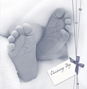 Photographic Tiny Toes Christening Card
