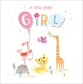 Camden Baby Girl Congratulations Card - Toucan Balloon