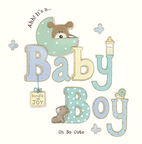 Baby Boy Congratulations Card - Pastel Polka Dots