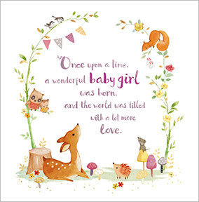 New Baby Girl Congratulations Card - Fawn & Squirrel