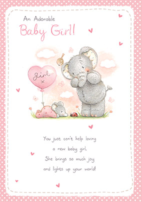 elliot buttons congratulations card new baby girl