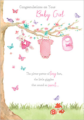 gibson new baby girl congratulations card pitter patter
