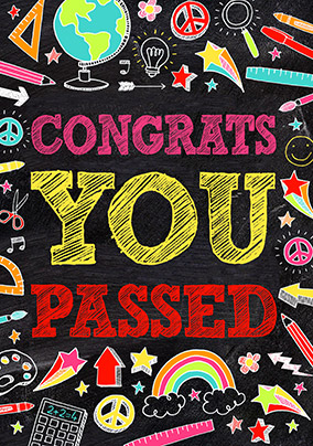 Chalkboard You Passed Congratulations Card