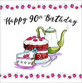 Tea & Cake 90th Birthday Card