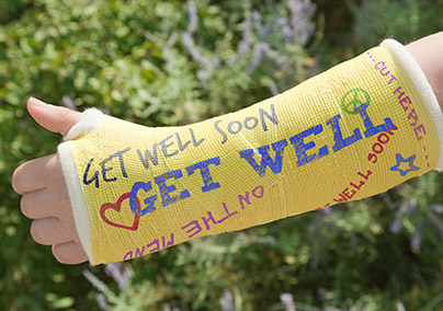 Arm in Plaster Get Well Soon Card
